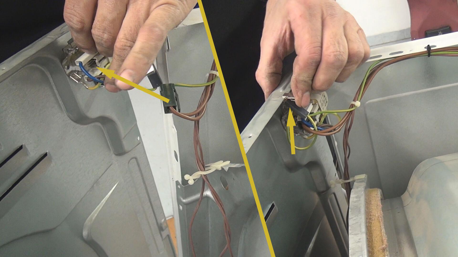 Stromanschluss an Trocknerrückwand anklemmen