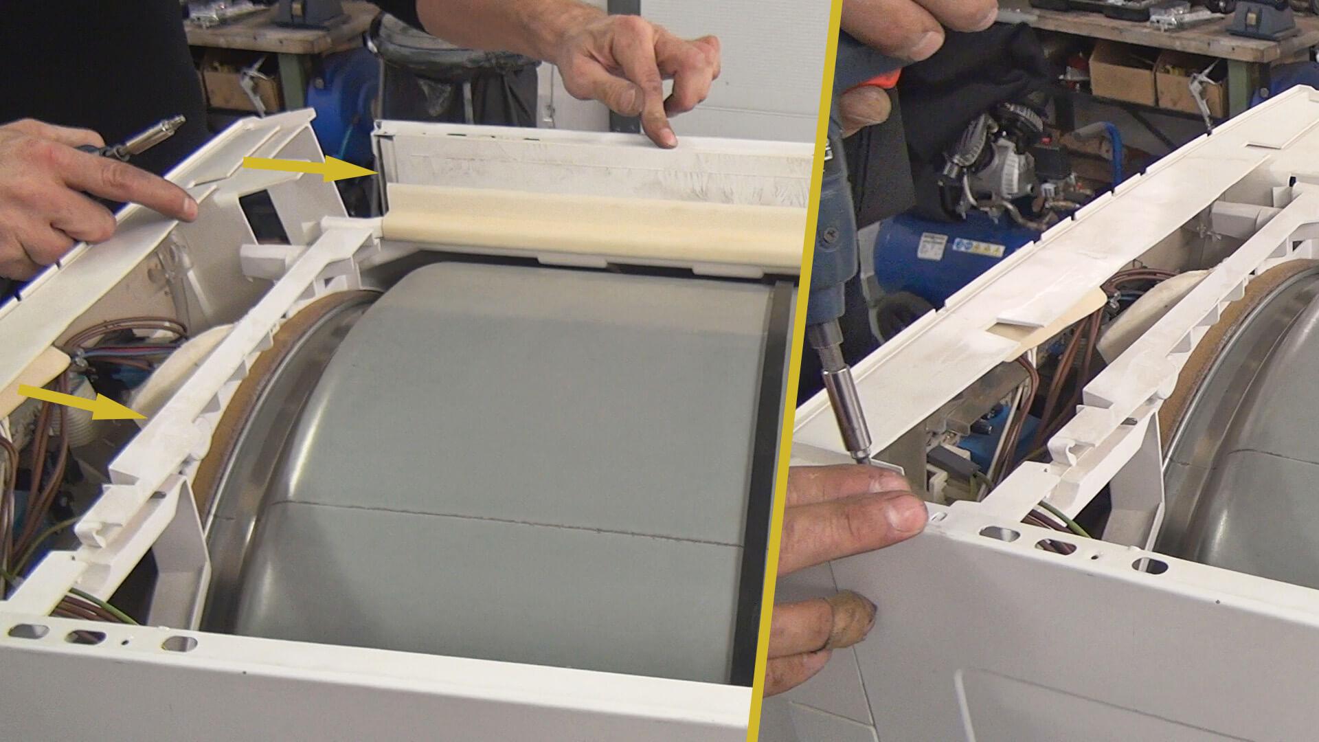 Wasserbehälteraufnahme ausrichten und Bedienelement verschrauben