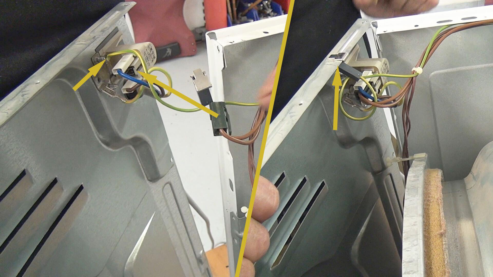 Stromanschluss mit Gerätedeckel verbinden